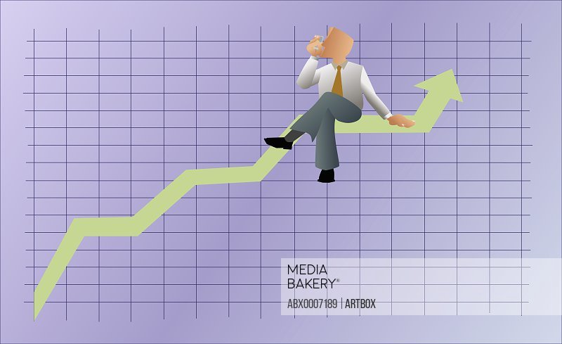 Businessman sitting on a line graph with mobile phone