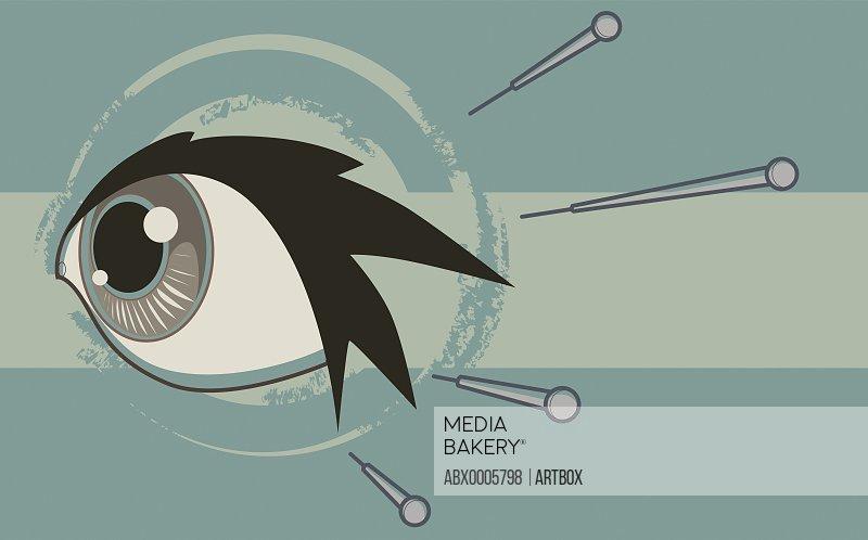 Botox injection injecting into human eye