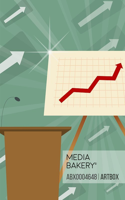 Microphone on a lectern with a line graph