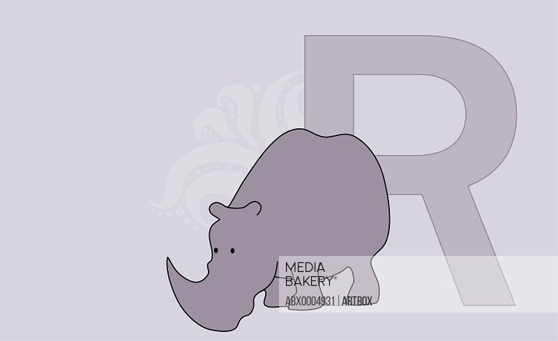 The letter R with a rhinoceros