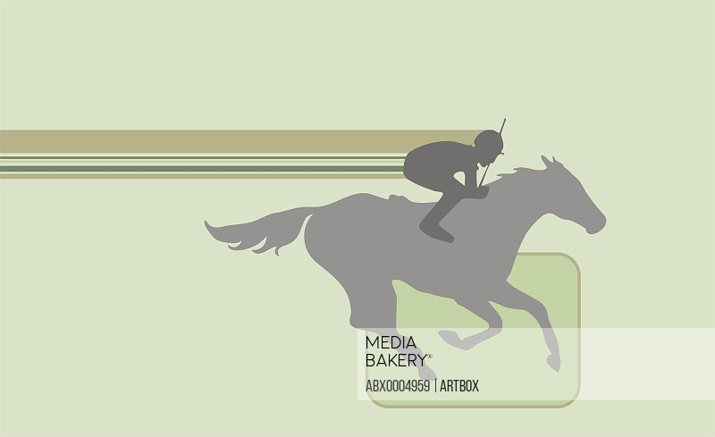 Silhouette of a jockey riding a horse
