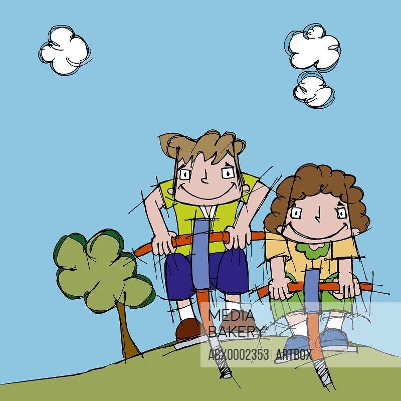 Two boys on pogo sticks