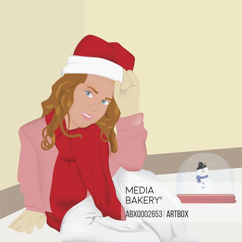 Woman wearing a Santa hat