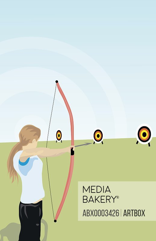 Woman aiming a target with a bow and arrow