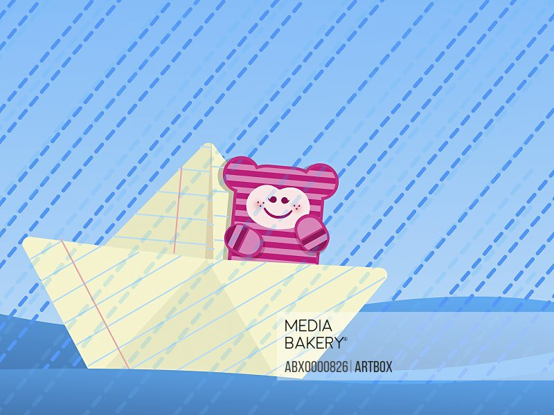Girl sitting on a paper boat in rain