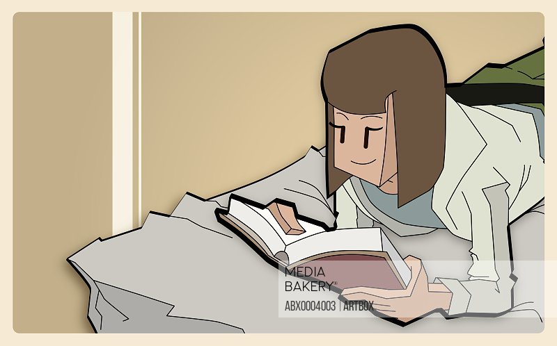 Girl reading a book on the bed