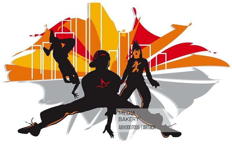 Silhouette of three people breakdancing