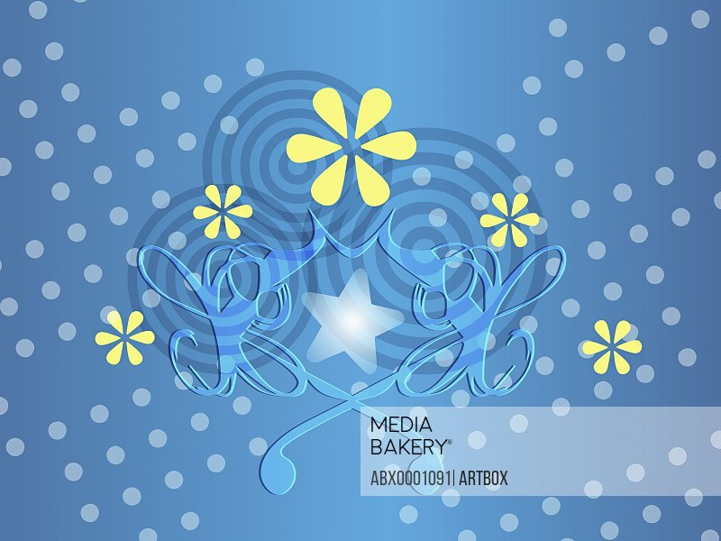 Close-up of a design on a blue background