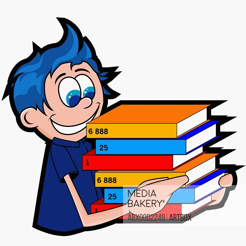 Close-up of a boy carrying a stack of textbooks