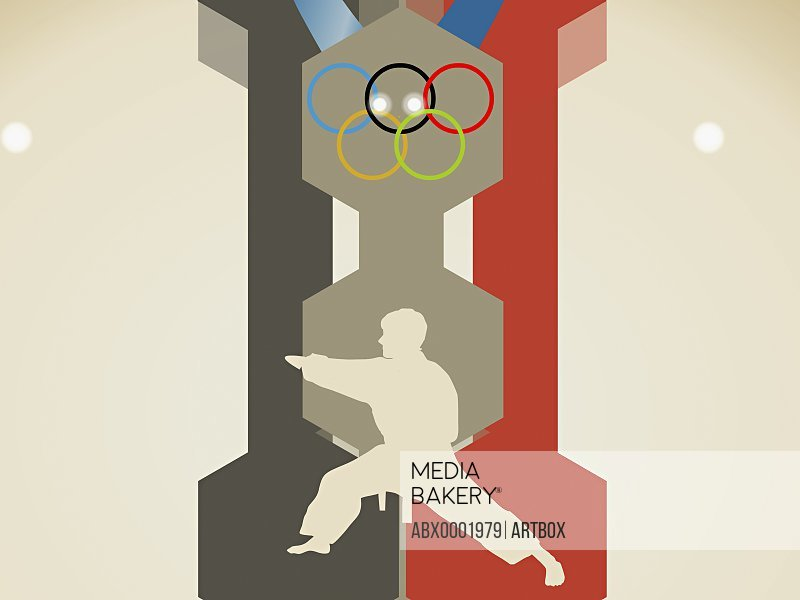 Olympic rings over a man performing martial arts