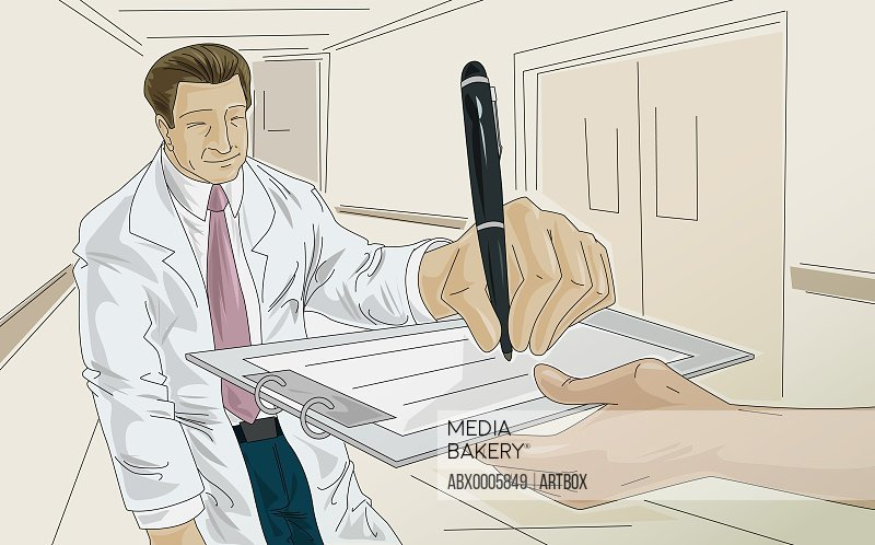 Male doctor writing on a clipboard