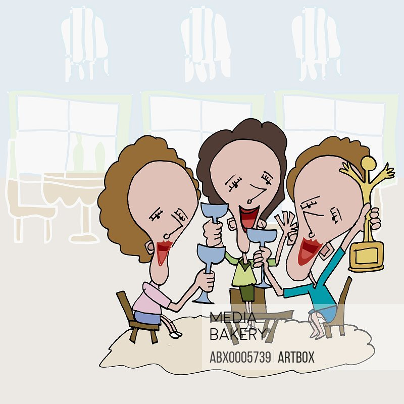 Three businesswomen holding wine glasses