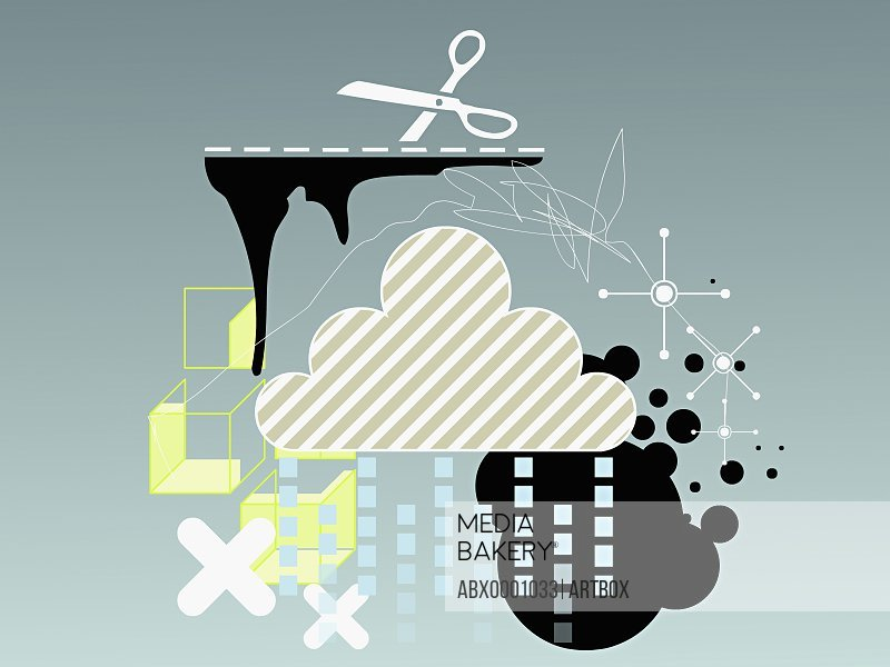 Clouds and a pair of scissors with geometric shapes