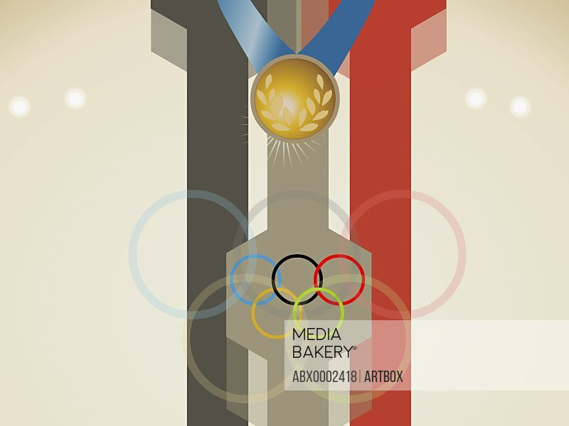 Close-up of Olympic rings with a gold medal