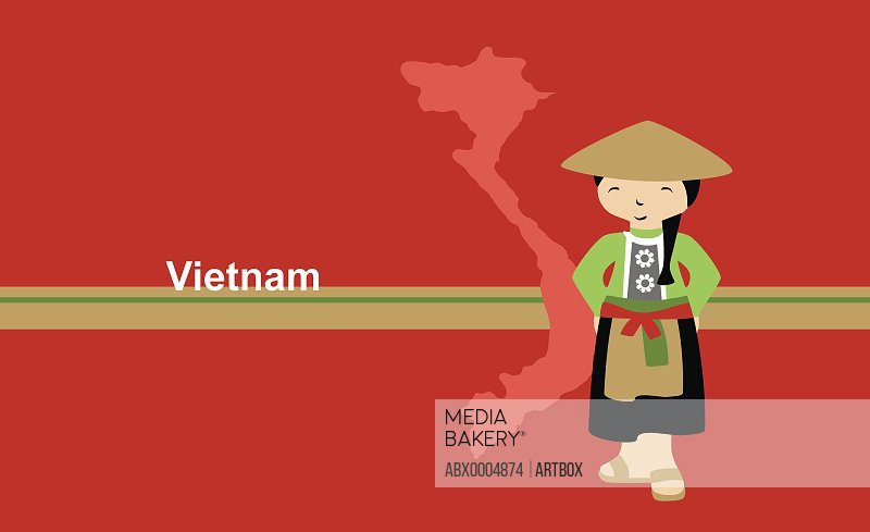 Girl in traditional clothing near map of Vietnam