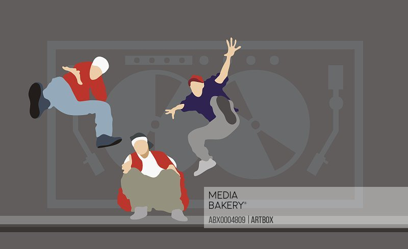 Three men dancing in front of a turntable