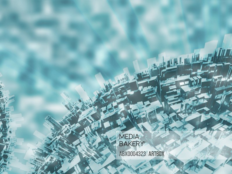 Aerial view of futuristic buildings