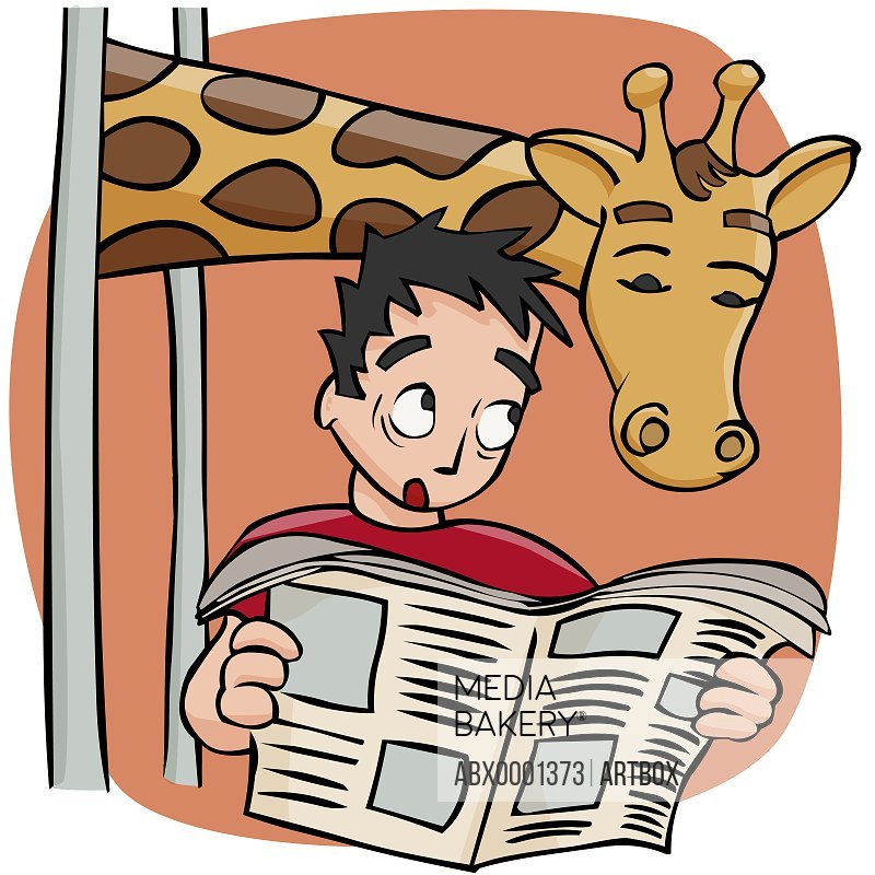 Close-up of a man reading a newspaper with a giraffe above him