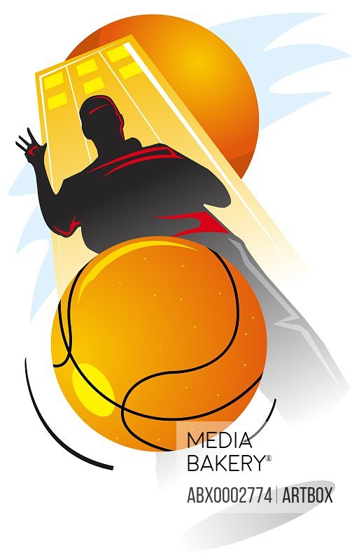 Silhouette of a man dribbling a basketball