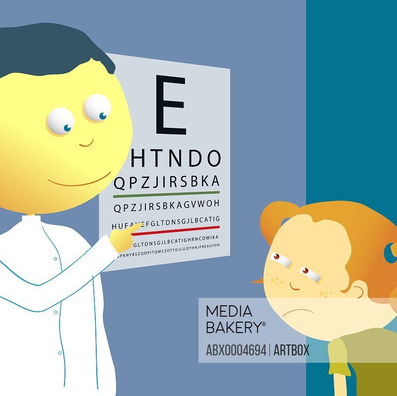 Male optician checking a girl's eye sight with an eye chart