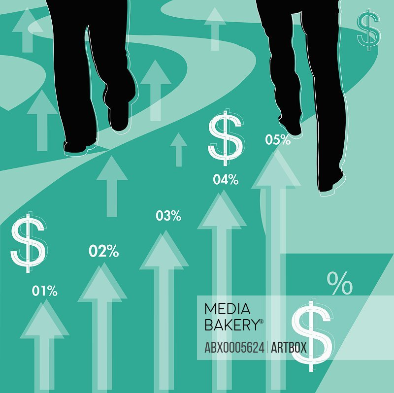 Two businessmen with a bar graph and dollar signs