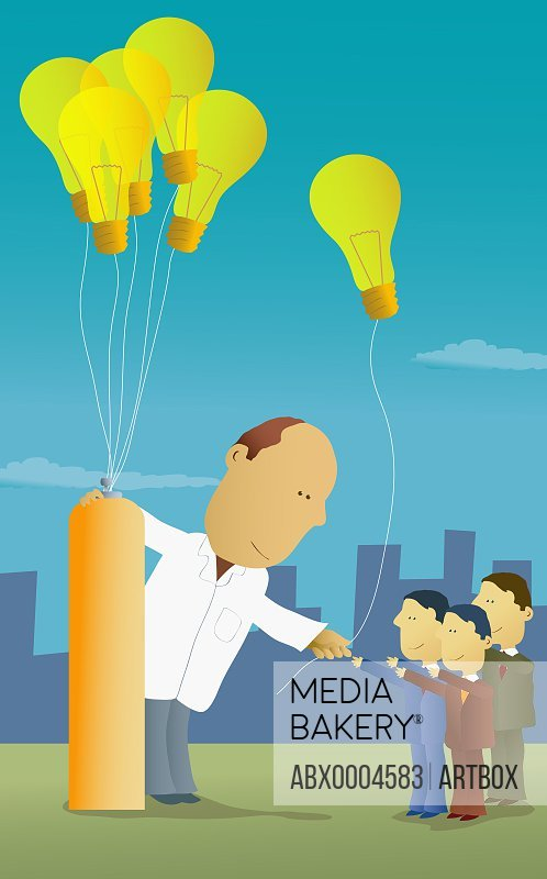 Scientist giving light bulbs to businessmen