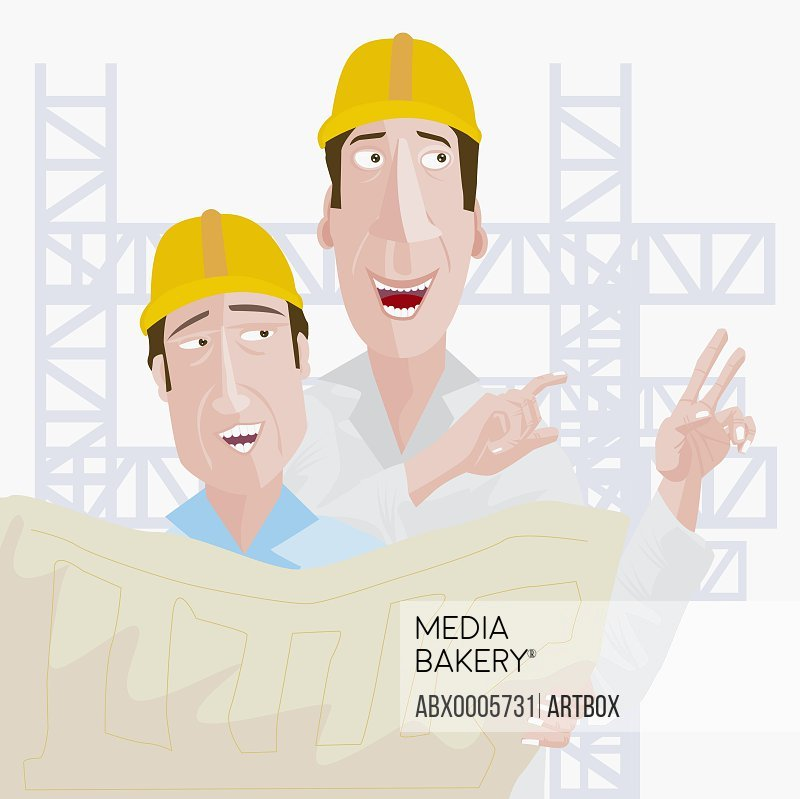 Two construction workers holding a blueprint