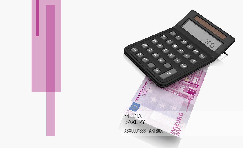 Calculator on a five hundred Euro bank note