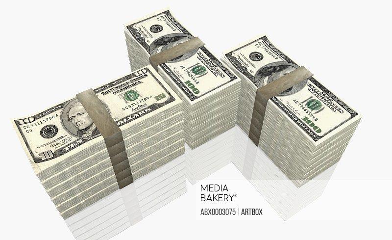 American ten dollar bills and one hundred dollar bills
