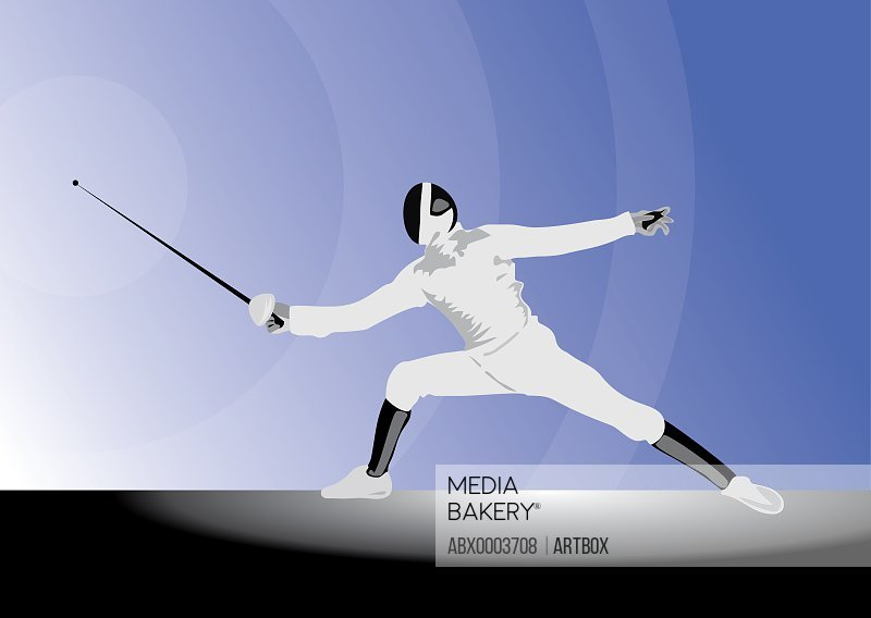 Fencer holding foil in defensive position