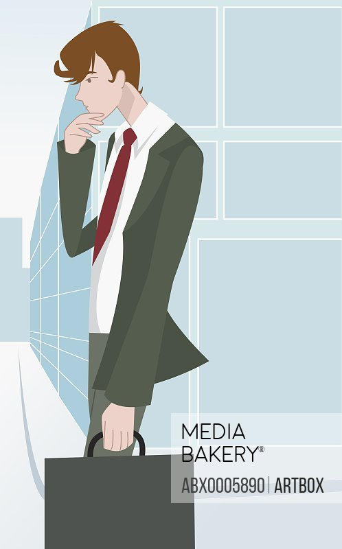 Businessman holding a bag and thinking