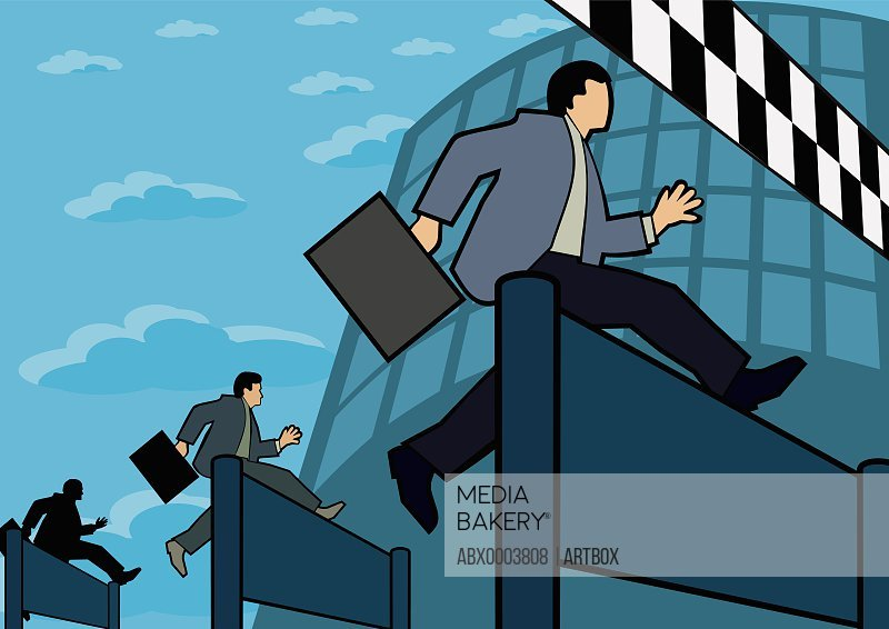 Three businessmen jumping over hurdles