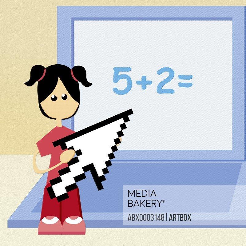 Girl holding an cursor arrow against a laptop