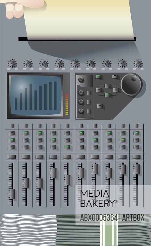 Close-up of a digital music mixer