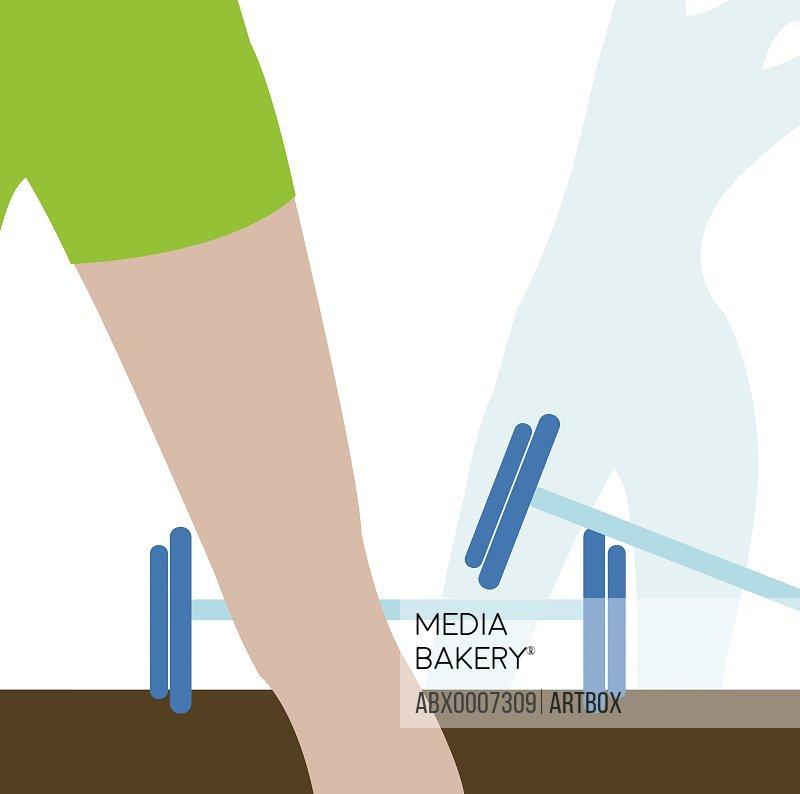 Woman's leg in a gym