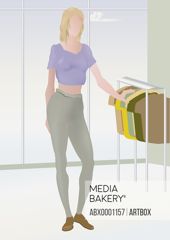 Woman looking at clothes in a clothing store