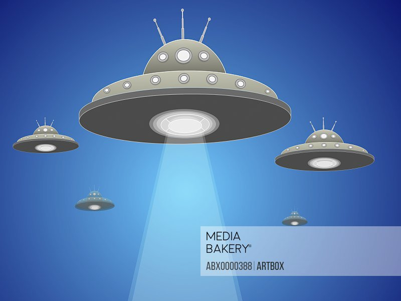 Five UFO's flying in the sky