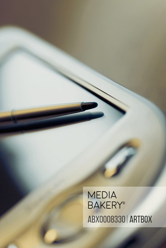 Close-up of a personal data assistant with a stylus