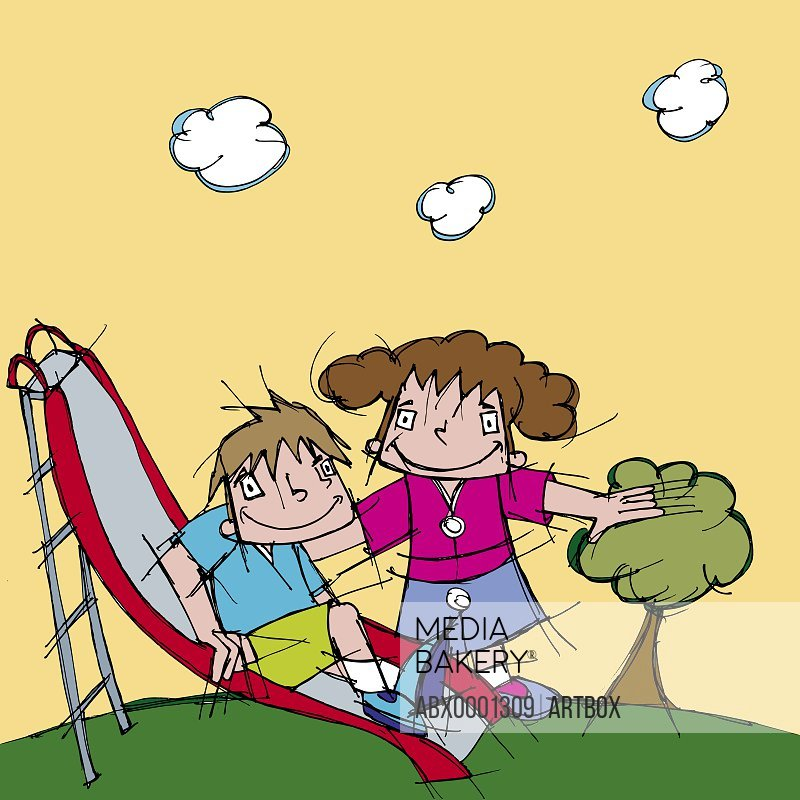 Boy and a girl playing on a slide