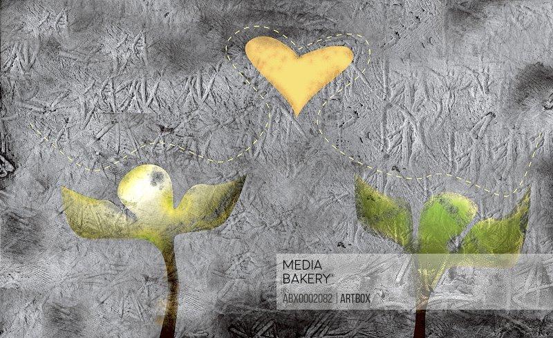 Two plants and a heart shape