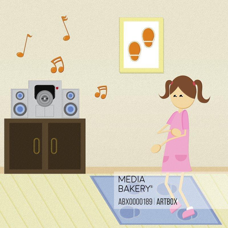 Girl dancing near a stereo