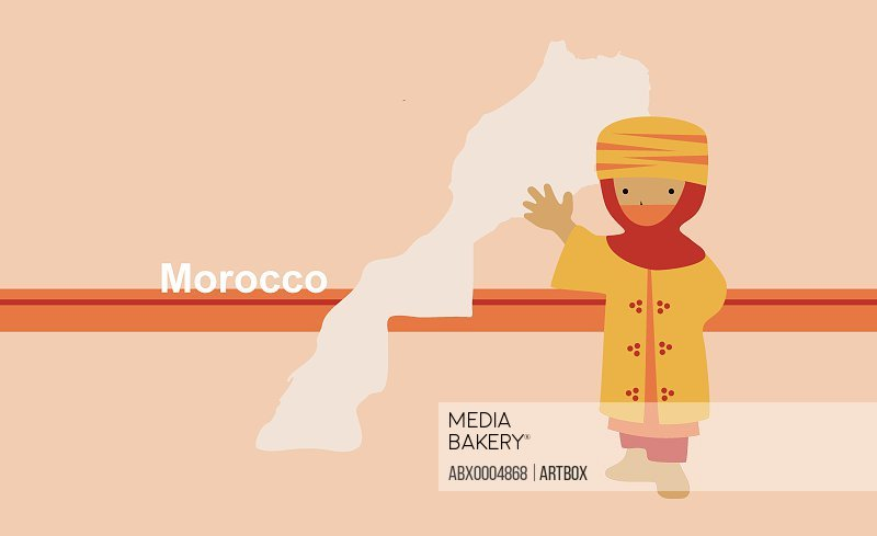Boy in traditional clothing near map of Morocco