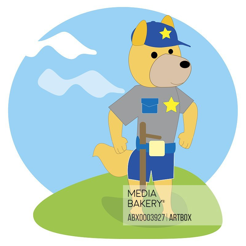 Fox dressed as a policeman