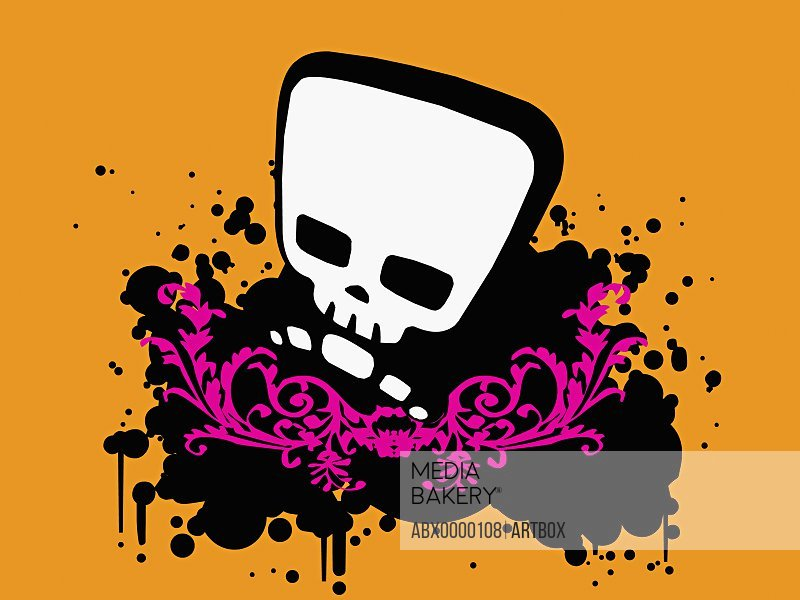 Human skull on a yellow background