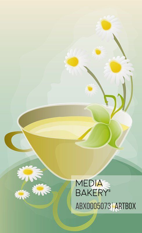 Cup of tea with flowers