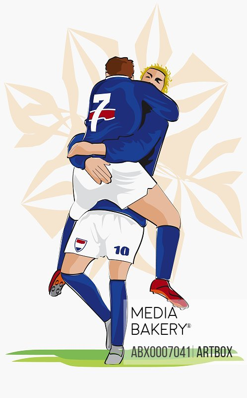 Two soccer players hugging each other