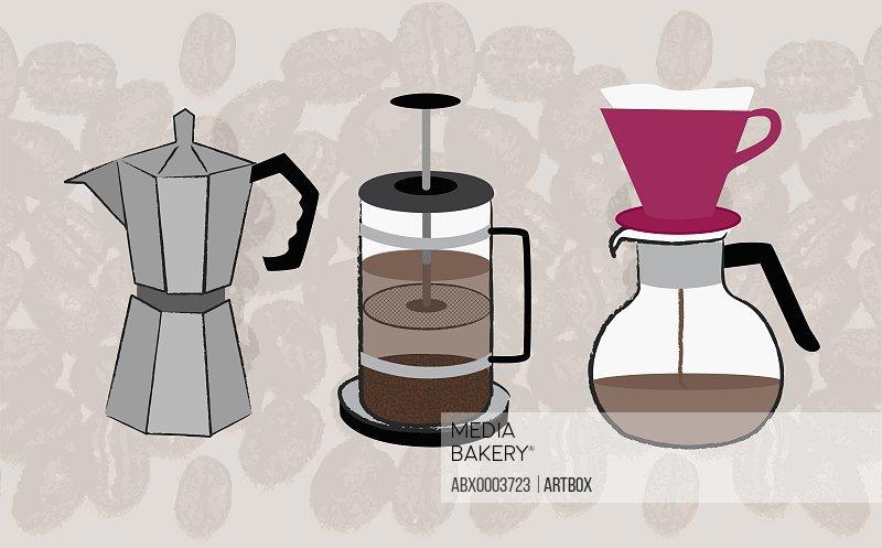 Three coffee percolators