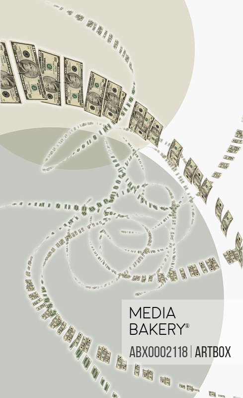 American dollar bills falling from the sky