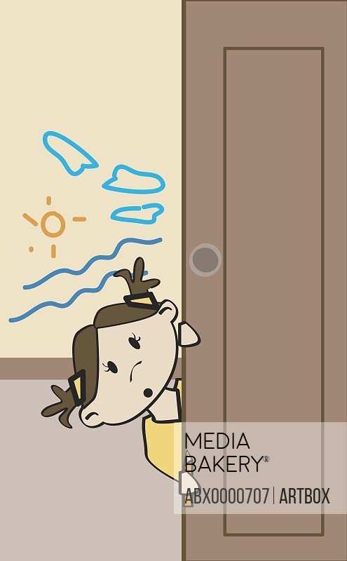Girl peeping from behind a door