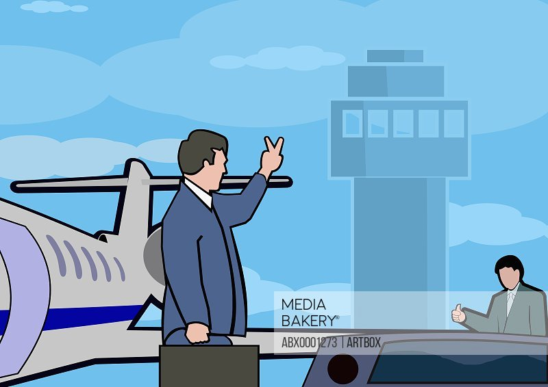 Businessman boarding a plane waving goodbye